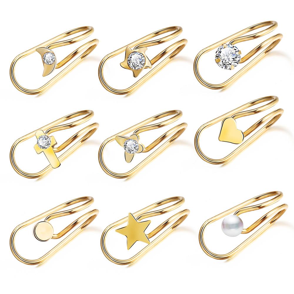 Women Ear Clips U Shape Rhinestone Earrings Simple Alloy Eardrop Jewelries Decoration 9pcs/set