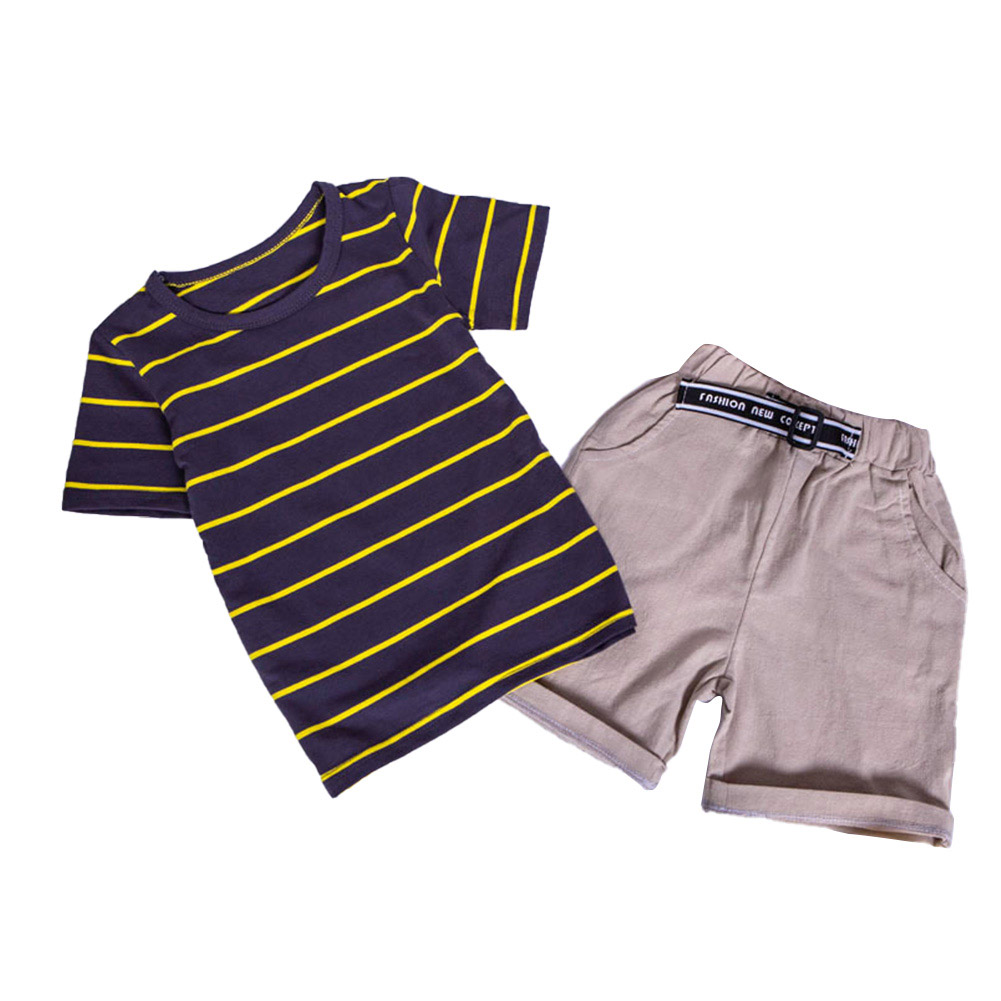 2pcs/set Boy Casual Suit Stripe Short Sleeves Shirt + Shorts For 0-4 Years Old brown_110cm
