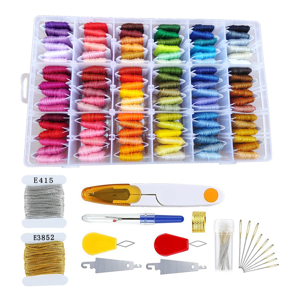 Embroidery  Floss  For Friendship Bracelet String Embroidery Needles Threader Accessaries 108 colors + box + accessories + gold and silver wire_Box packaging