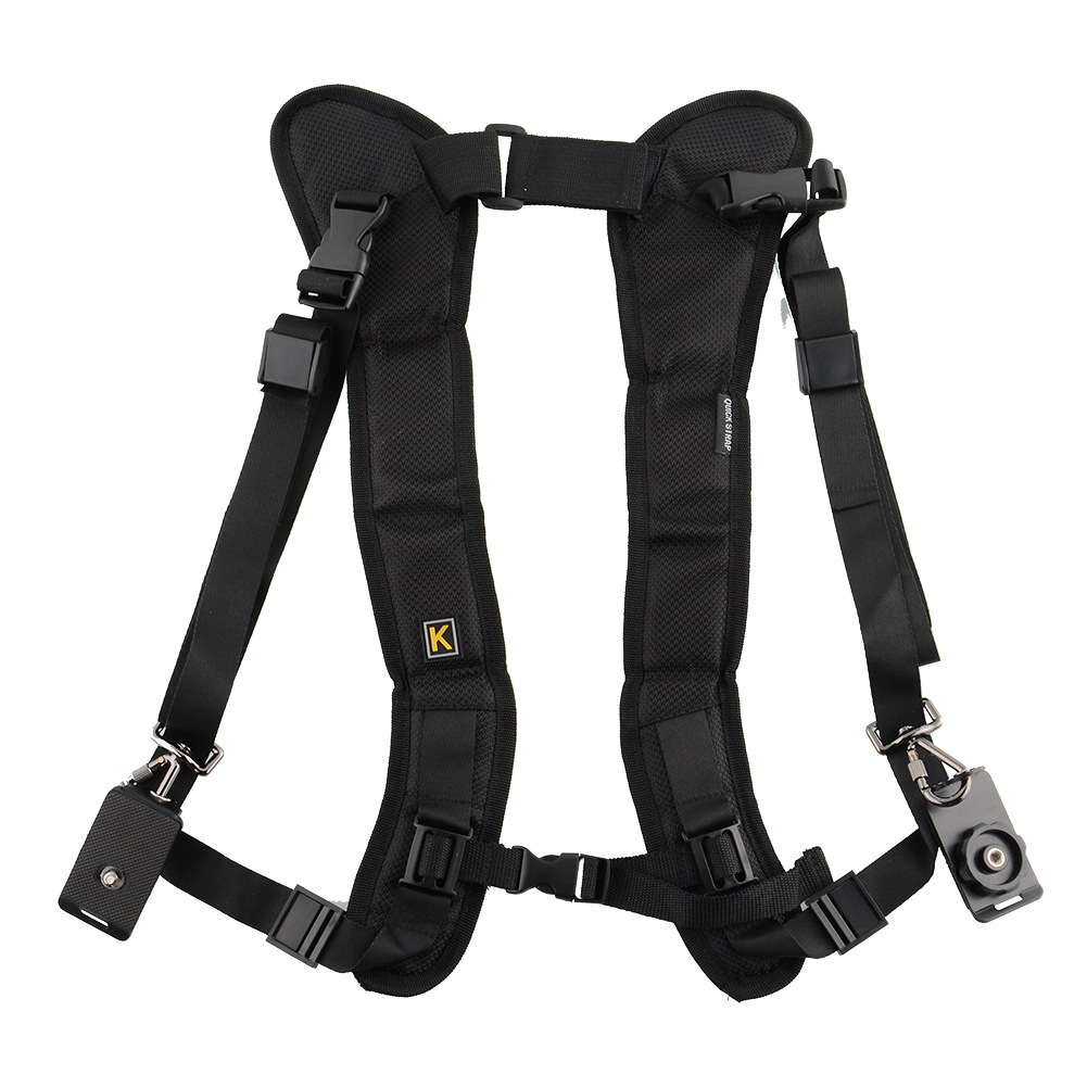 Double Dual Camera Shoulder Strap Quick Rapid Sling Camera Belt Adjustment for Canon for 2 Cameras Digital DSLR Strap black