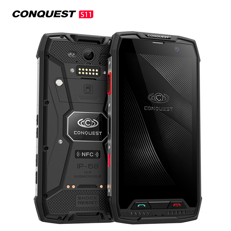 Conquest S11 7000mAh NFC OTG IP68 Shockproof 4G Smartphone Android 7.0 6GB RAM 128GB ROM Cell Phones Rugged Mobile Phone Black 6+128GB