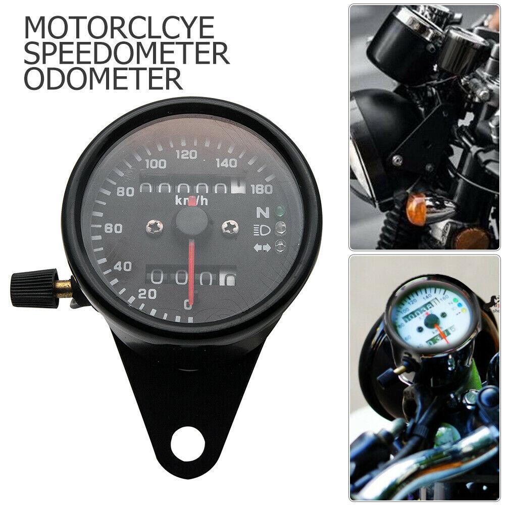 Motorcycle Odometer Speedometer Tachometer Speedo Meter LED For Honda Cafe Racer black