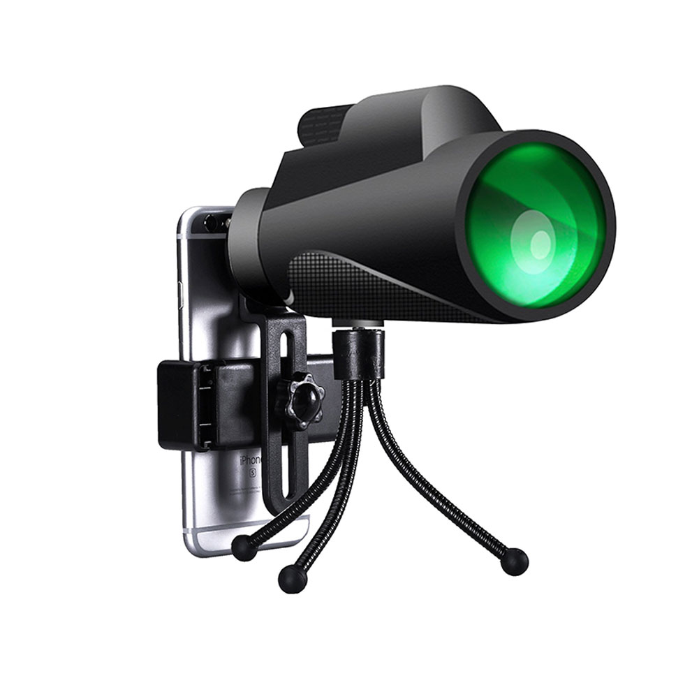SUNCORE 12x50 Outdoor Hunting Tourism HD Monocular Professional Night Vision Telescope  12*50 telescope + mobile phone clip + black hose tripod