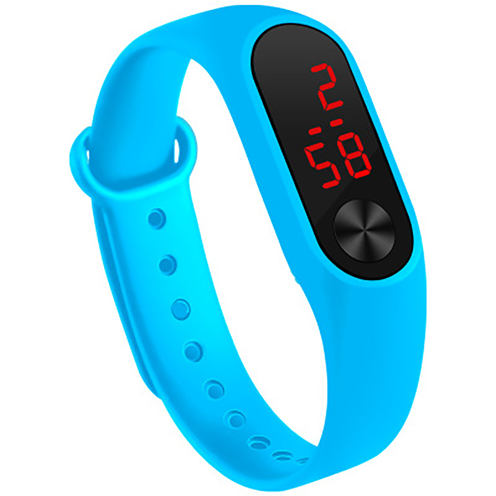 LED Simple Watch Hand Ring Watch Led Sports Fashion Electronic Watch Sky blue