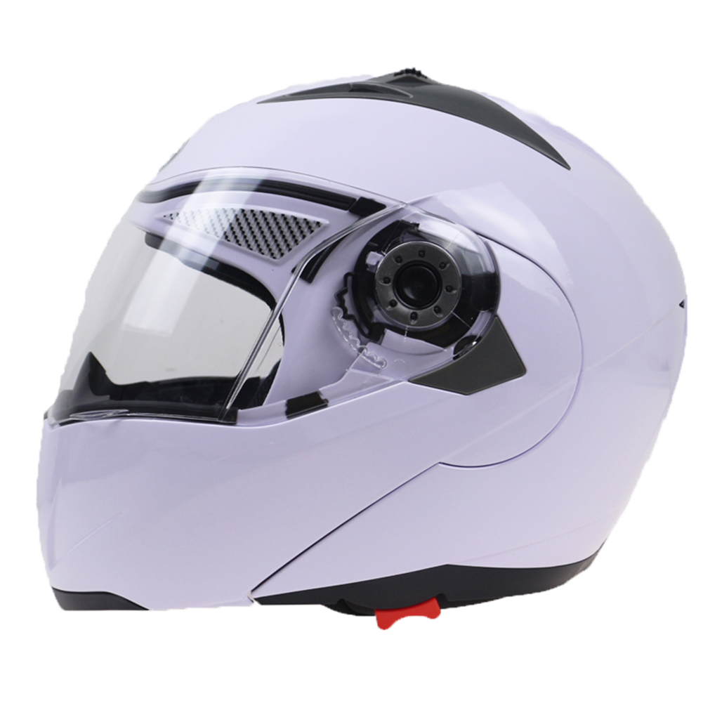105 Full Face Helmet Electromobile Motorcycle Transparent Lens Protective Helmet White XL