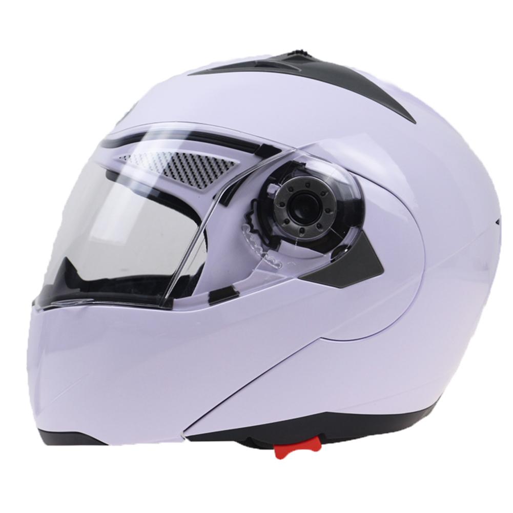 105 Full Face Helmet Electromobile Motorcycle Transparent Lens Protective Helmet White XXL
