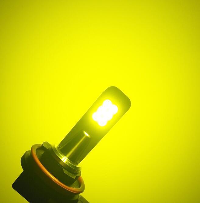 2pcs Car LED Headlamps Aluminium Alloy Car LED Fog Lights H8 H11 3030 12led High Power Headlights yellow_H8 / H11