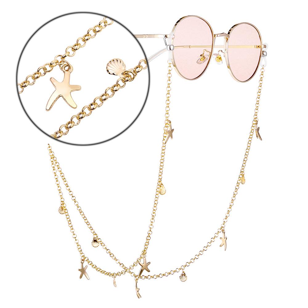 Chic Eyeglasses Chain Starfish Shell Decoration Antiskid Eyeglasses Chain Gold