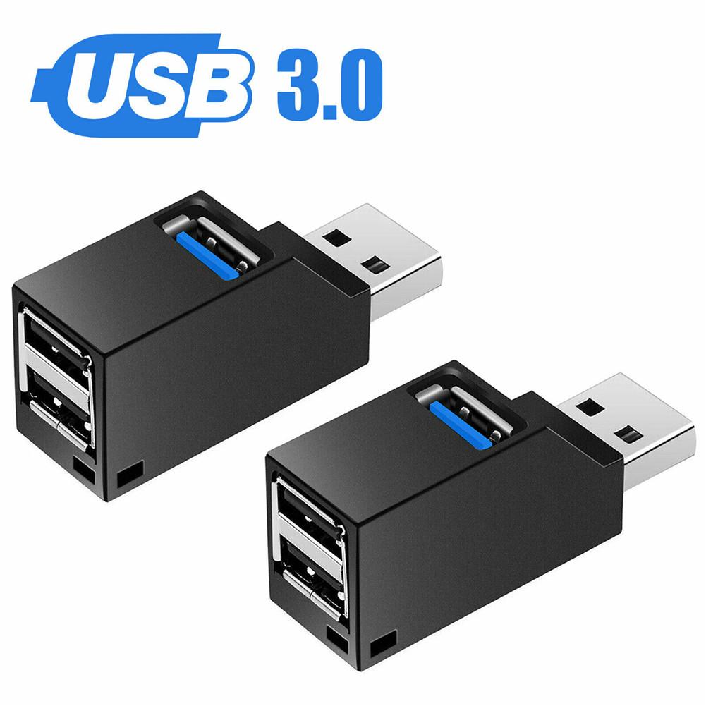 3 Ports USB 2.0/3.0 Mini High Speed Hub Ultra Thin Data Transmission Adapter Black 3.0