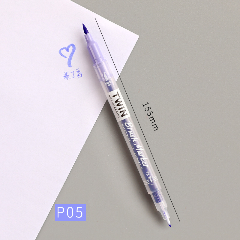 Double Head Marker Pen Multi Color Watercolor Water Based Hand Account Painting Pen Stationery Office Stationery P05 lilac_15cm