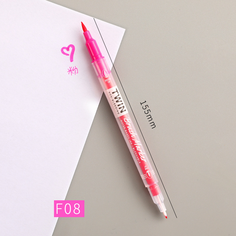 Double Head Marker Pen Multi Color Watercolor Water Based Hand Account Painting Pen Stationery Office Stationery F08 pink_15cm