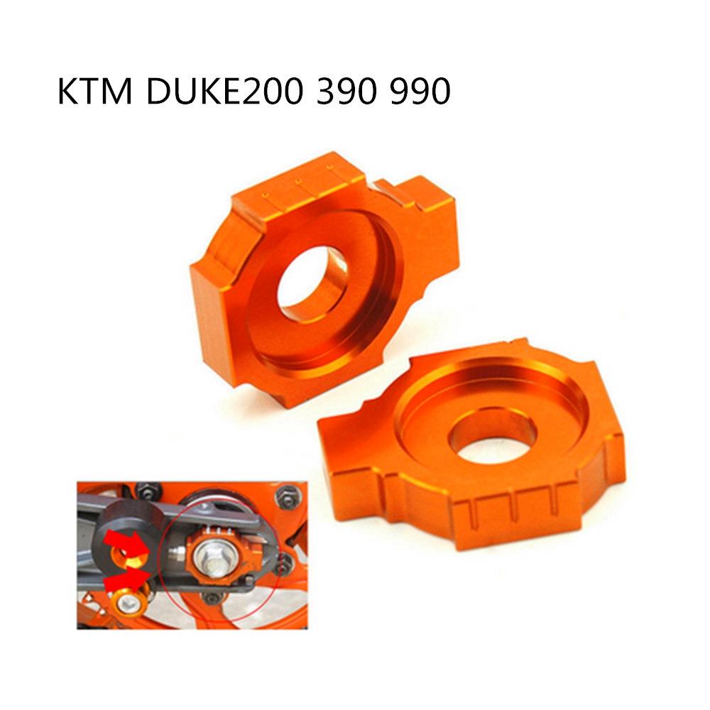 Motorcycle CNC Rear Axle Blocks Chain Adjuster for KTM DUKE125 200 390 Orange