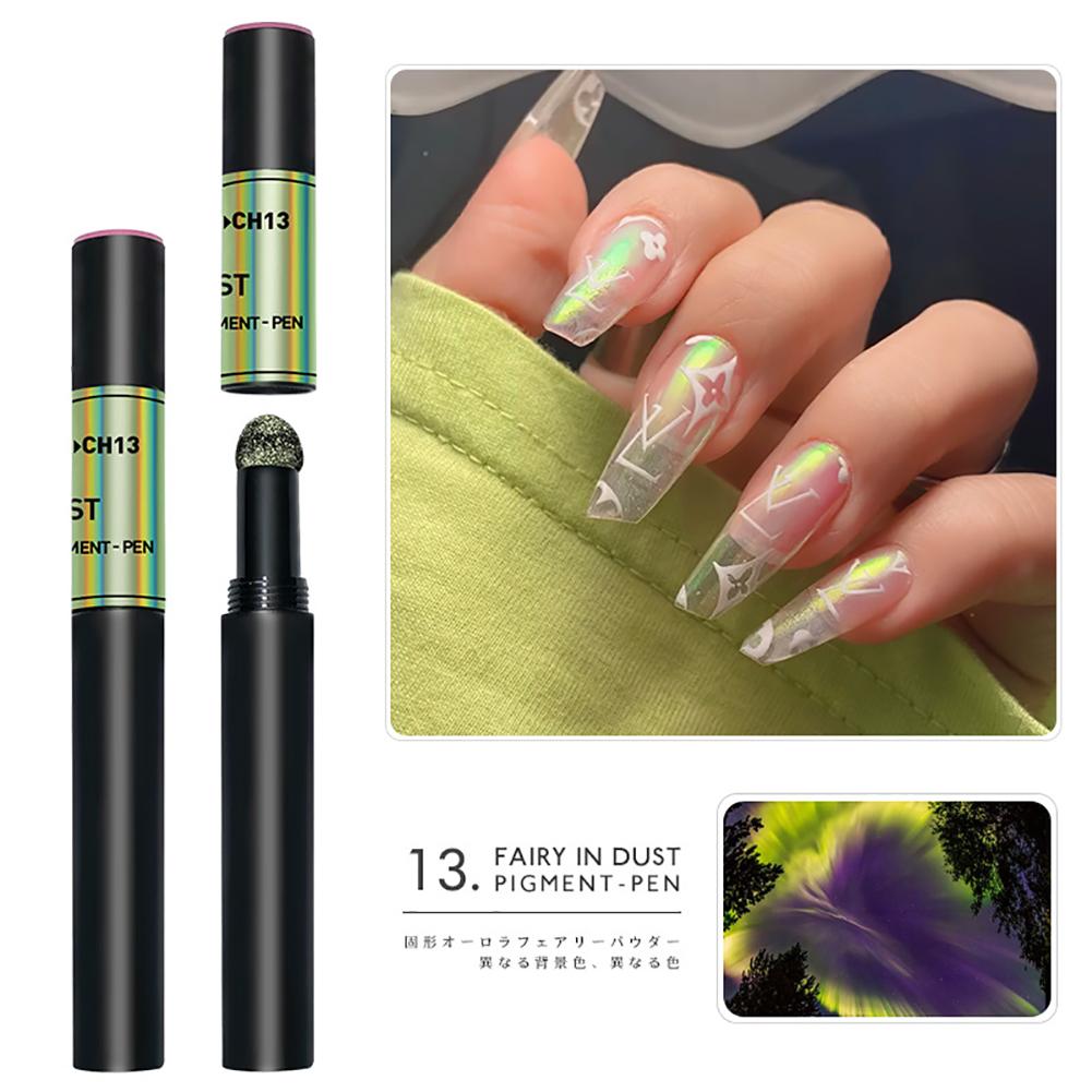 Solid Powder Air Cushion Magic Pen Nail Art Magic Mirror Effect Phantom Nails Pen Manicure Tools Aurora Mirror-13#