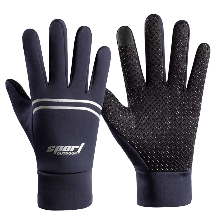 Men Women Waterproof Gloves Warm Touch Screen Gym Fitness Full Finger Gloves for Running Jogging Cycling Ski  blue_One size