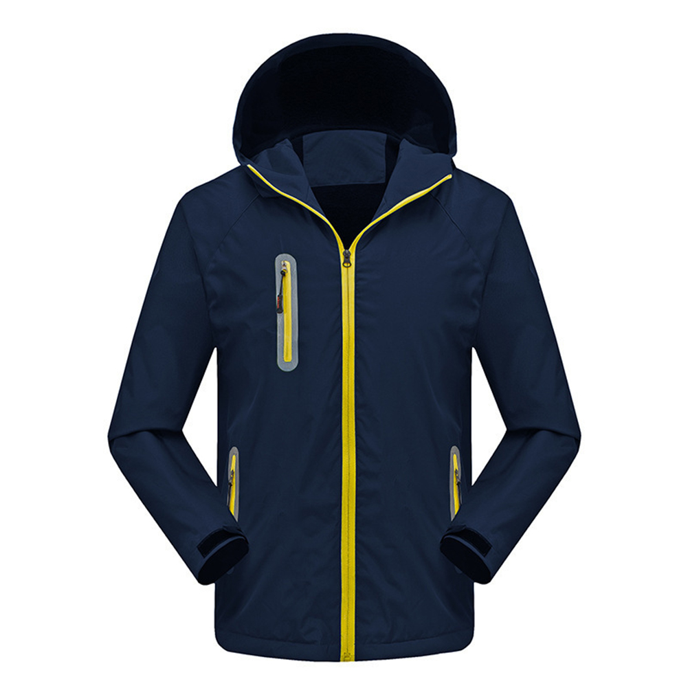 Men's and Women's Jackets Autumn and Winter Outdoor Reflective Waterproof and Breathable  Jackets Navy_L