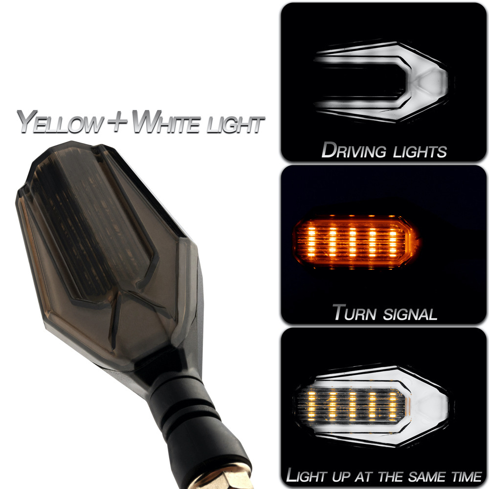 1 Pair Motorcycle Light Dual Color Light Led Daytime Running Light Turn Signal Light Yellow + white light