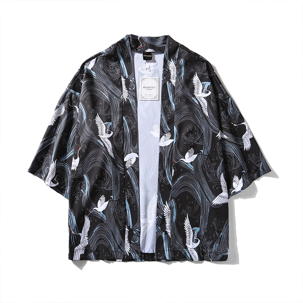 Unisex Vintage Ukiyo-E Pattern Kimono Loose Sleeve Cotton Shirts Tops Crane black_L