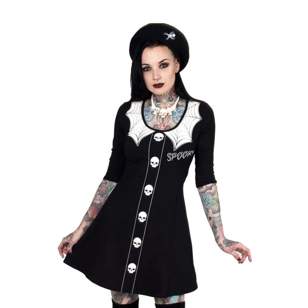 Halloween Long Sleeve Dress Skull Spider Net Round Collar Cosplay Party Costume black_XL