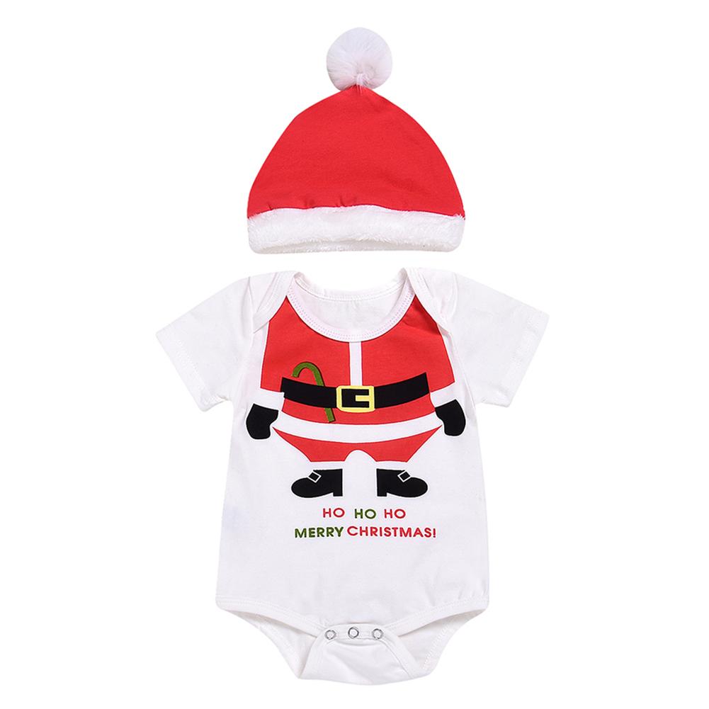 Newborn Baby Girl Boy Romper + Hat Set Cute Creative Santa Claus Costume Xmas Gift White_12-18M
