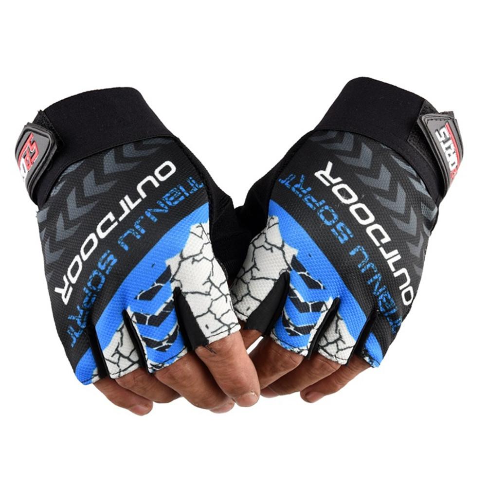 1 Pair Nylon Half  Finger  Gloves For Men Women Mountain Bike Fishing Fitness Yoga Non-slip Gloves blue