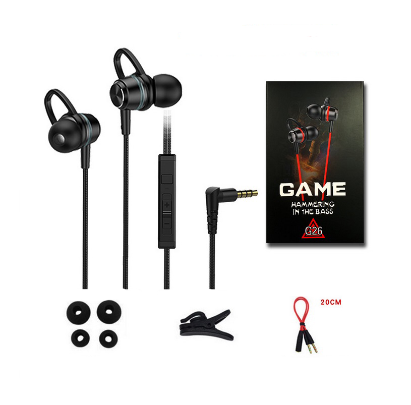 G26 Wired 3.5mm Plug In-ear Gaming Headset With Microphone For Mobile Phone Computer Black