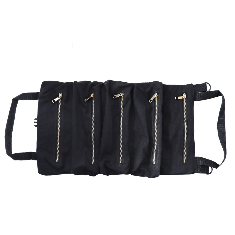 Car Tool Roll Up Bags Waxed Canvas Storage Pouch Tools Tote Sling Holder Back Seat Organizer black