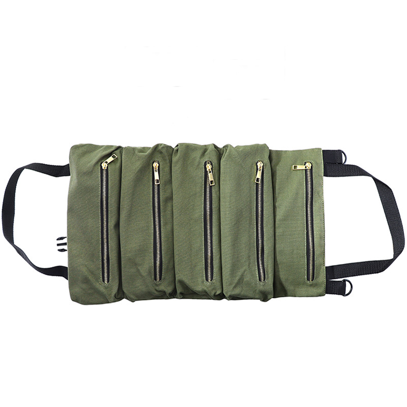 Car Tool Roll Up Bags Waxed Canvas Storage Pouch Tools Tote Sling Holder Back Seat Organizer Army Green