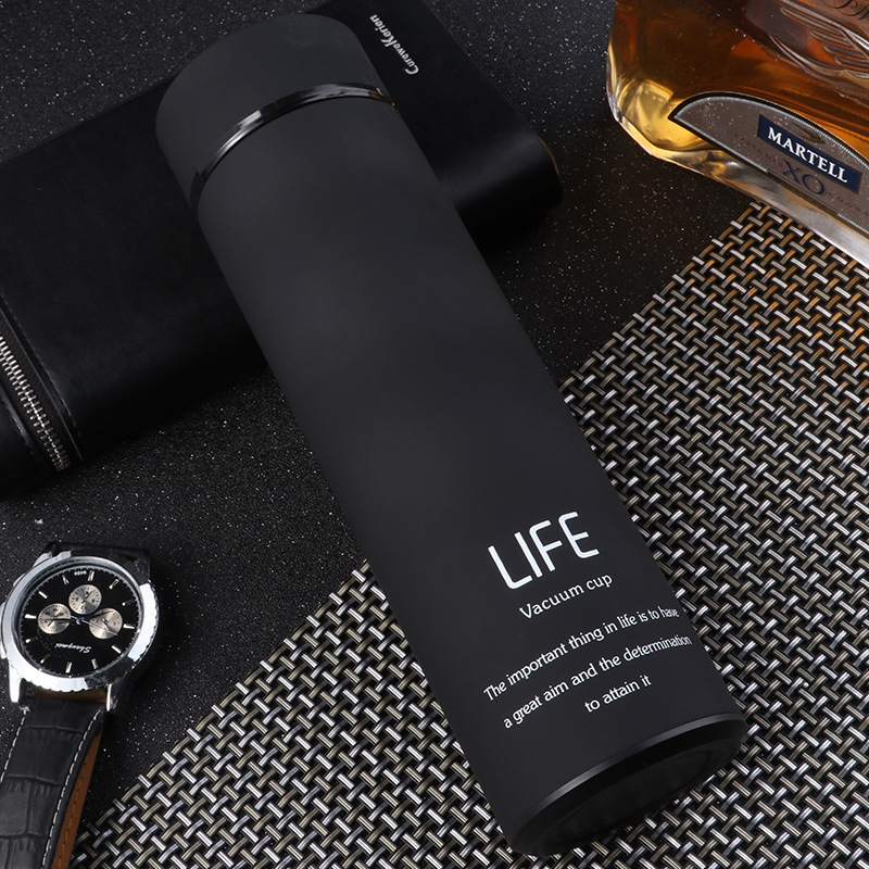 500ml Rubber Paint Vacuum Flask Thermos  Bottle With Tea Mesh Water Cup black