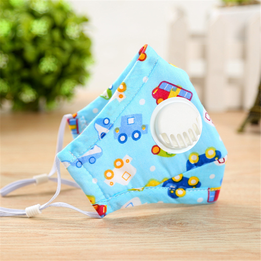 PM2.5 Baby Respirator Autumn Winter Anti-haze Dustproof Mask Activated Carbon Filters Cotton with Breathing Valve Blue car_0-3 years