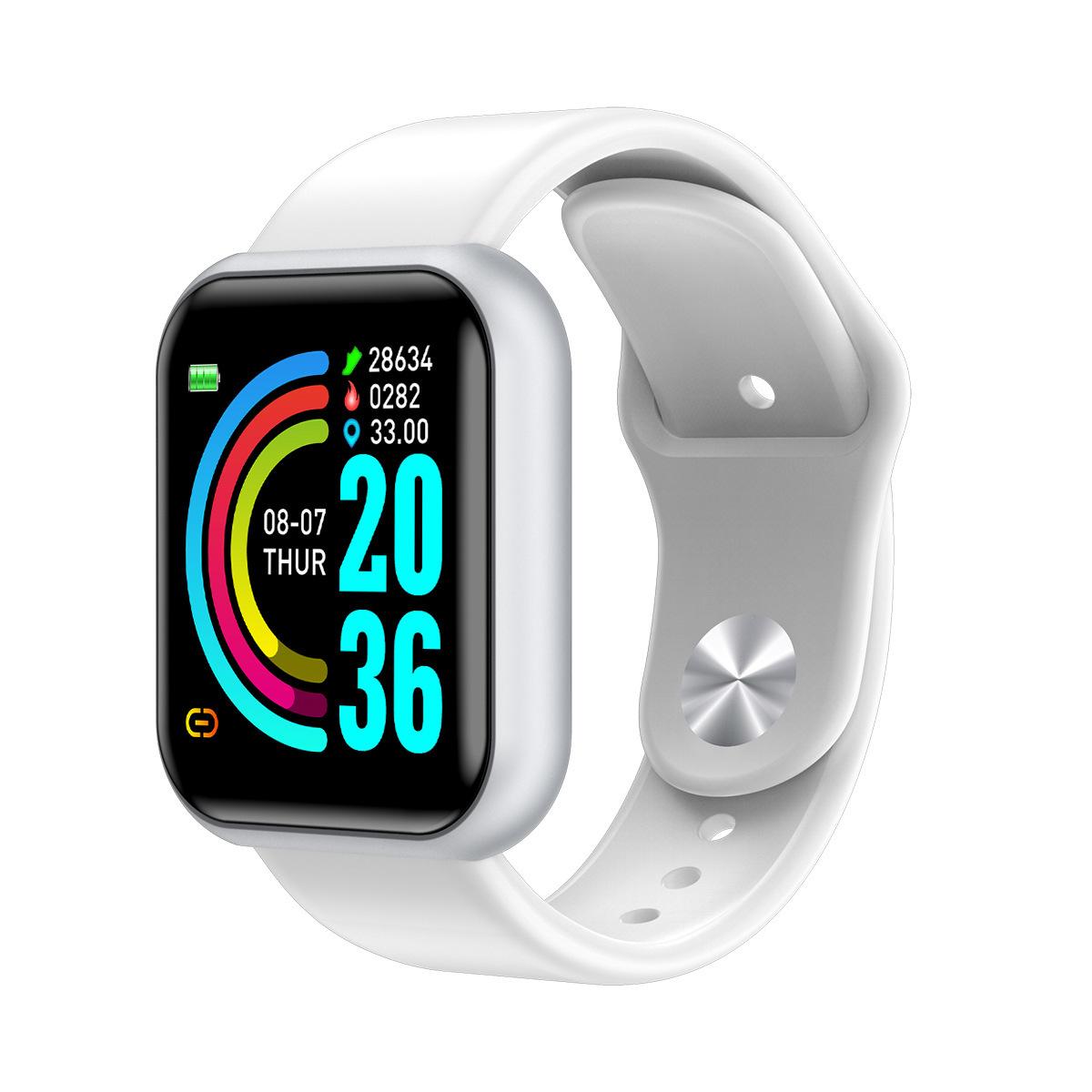 D20 Smart Bracelet IP67 Waterproof TPU Strap Step Count Blood Pressure Heart Rate Monitoring Watch white