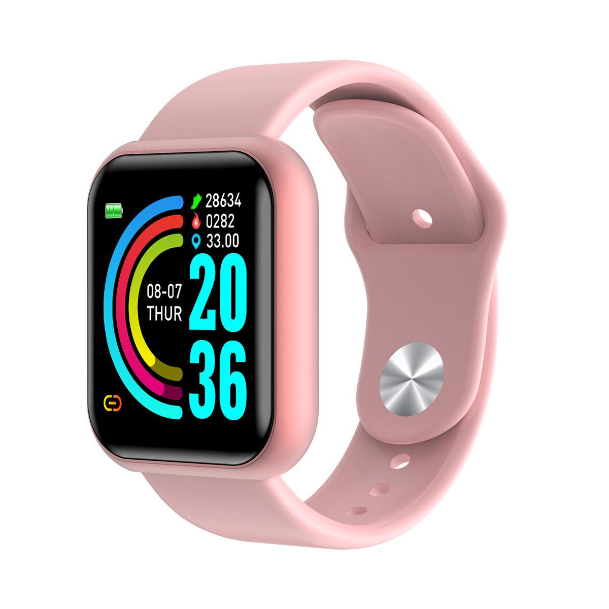 D20 Smart Bracelet IP67 Waterproof TPU Strap Step Count Blood Pressure Heart Rate Monitoring Watch Pink
