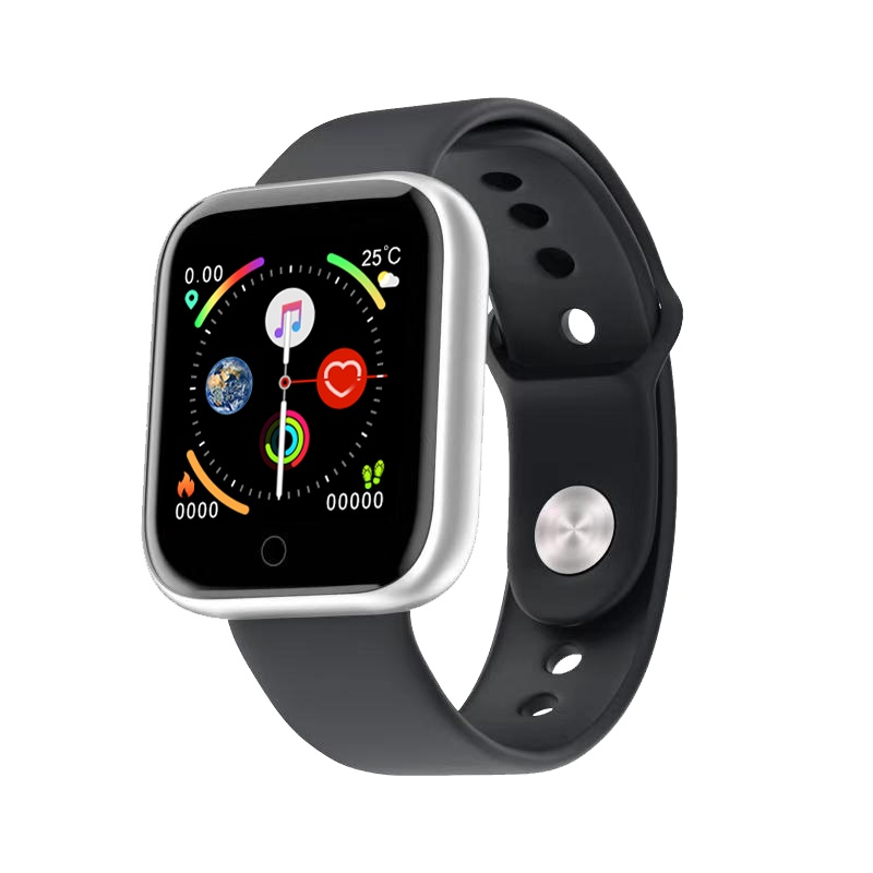 D20 Smart Bracelet IP67 Waterproof TPU Strap Step Count Blood Pressure Heart Rate Monitoring Watch Silver black