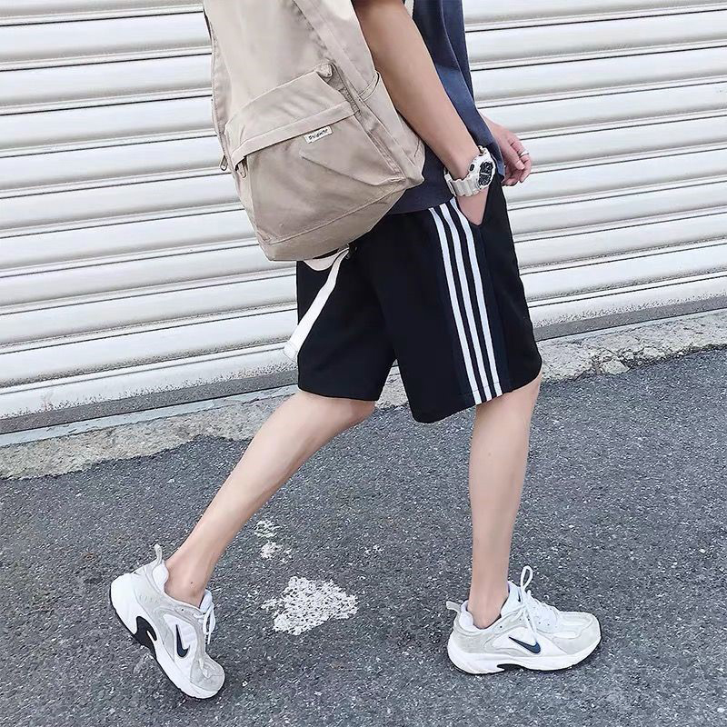 Men Casual Pants Loose Cotton All-match Sports Shorts For Summer Beach black_Int:XXL