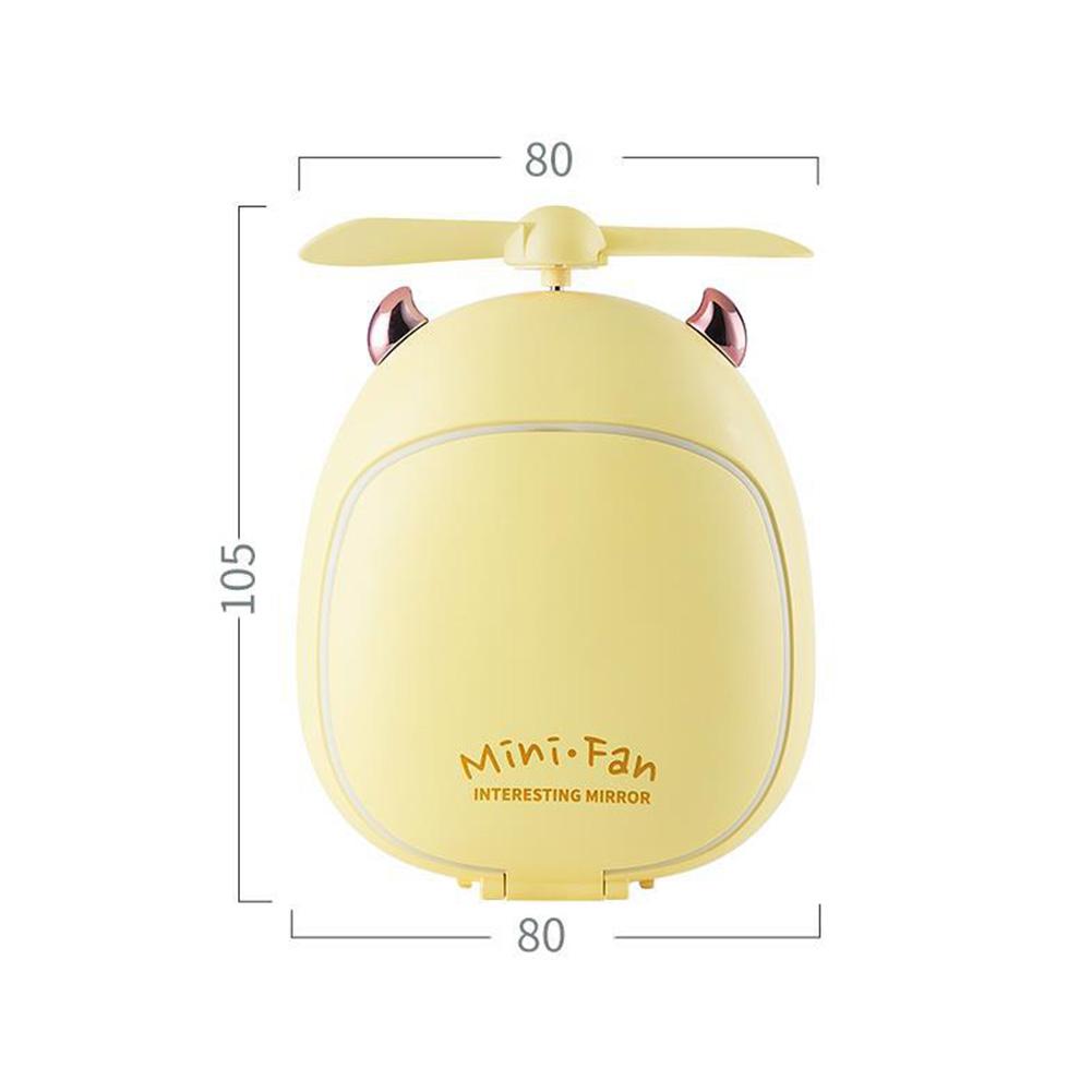 Cartoon Bear Beauty Makeup Mirror Lamp Fan Handheld Portable USB Rechargeable Small Fan Little two magic yellow_10.5 * 3.5 * 8cm