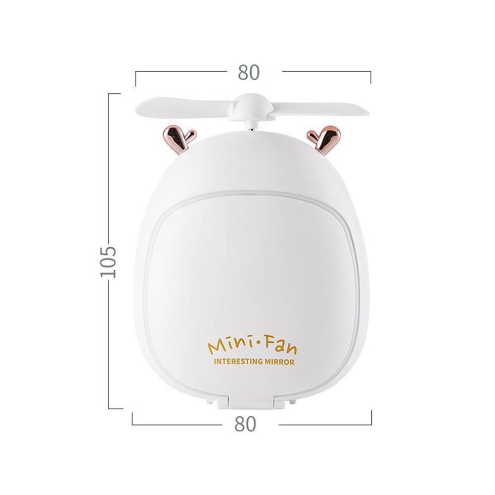 Cartoon Bear Beauty Makeup Mirror Lamp Fan Handheld Portable USB Rechargeable Small Fan Fawn white_10.5 * 3.5 * 8cm