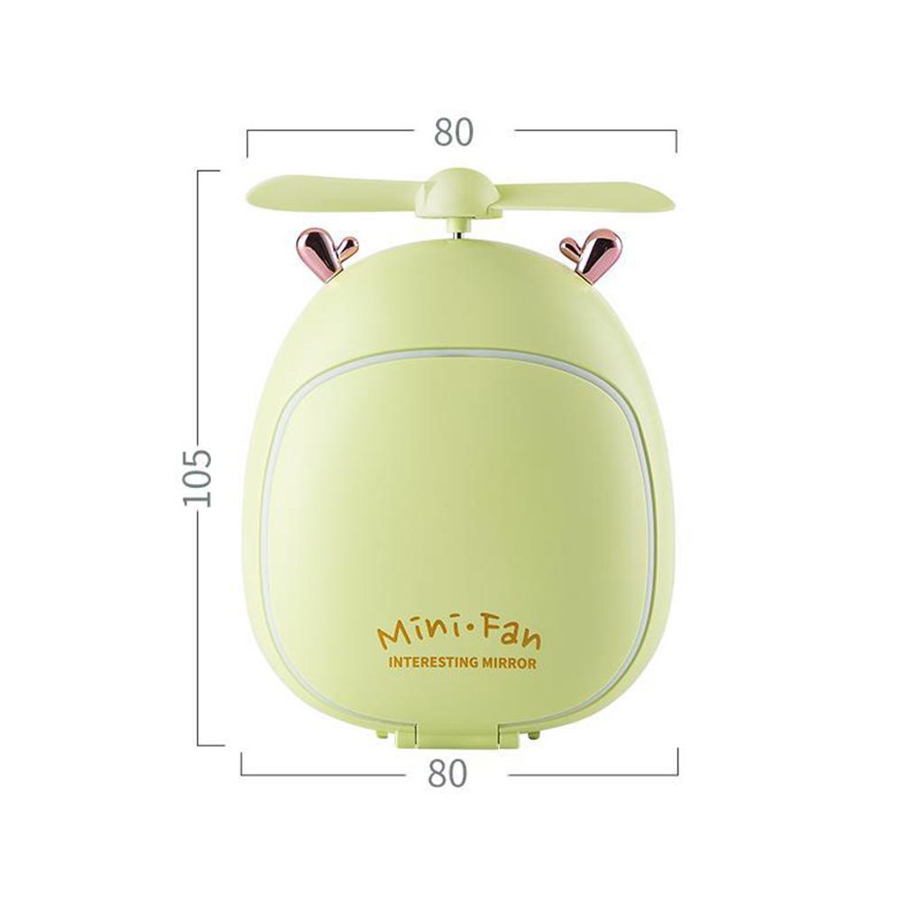 Cartoon Bear Beauty Makeup Mirror Lamp Fan Handheld Portable USB Rechargeable Small Fan Fawn green_10.5 * 3.5 * 8cm