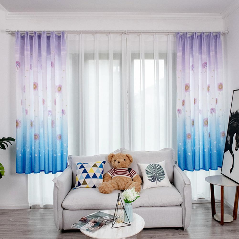 Hydrangea Printing Shading Decorative Curtain for Bedroom Living Room Short Window Drapes blue_1 * 2m high hook
