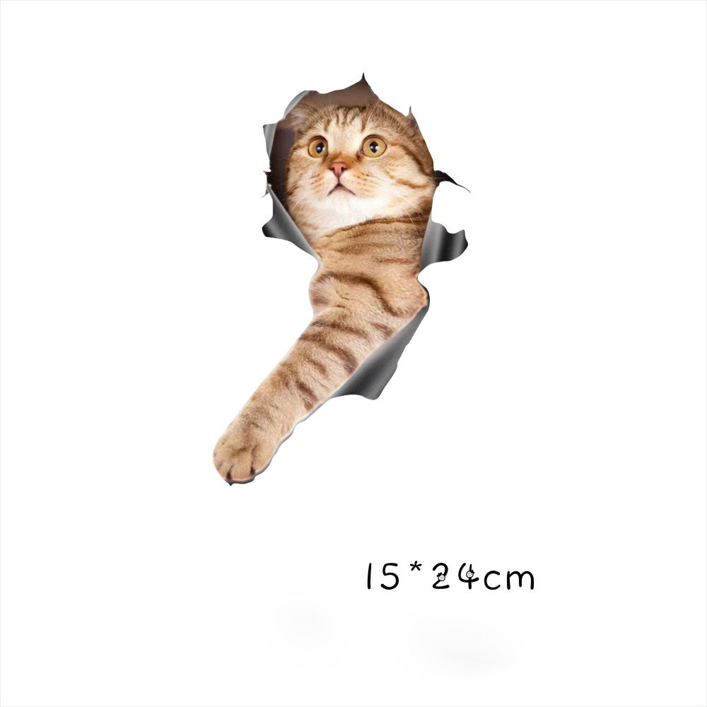 Funny Car  Sticker Body Dog Cat Puppy Scratch Paint Subsidies Cartoon Simulation Door Body Decal Orange Cat #1 15*24cm