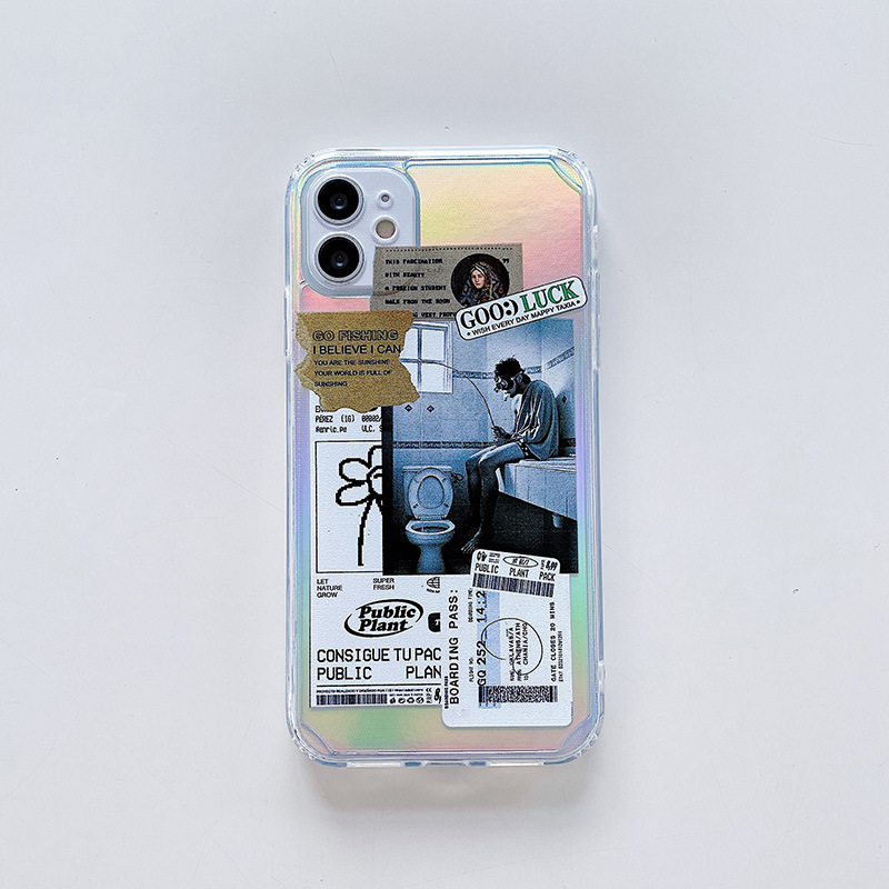 Phone Case Suitable for Iphone11 Fashionable Men Colorful Painting 2-tone Protective Case iphone11ProMax