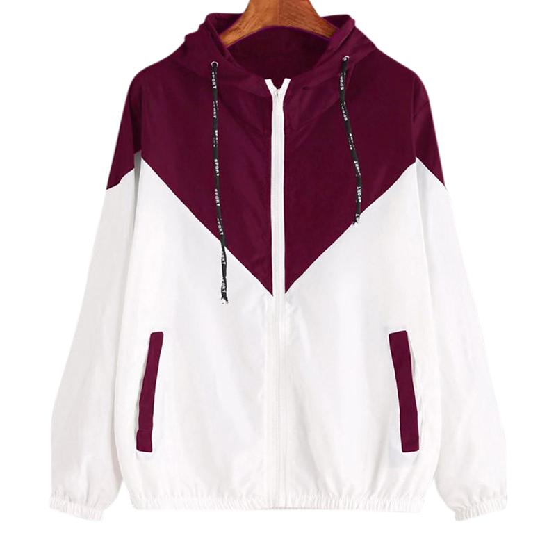 Women Fashion Matching Color Elastic Waist Hooded Coat Casual Sports Jacket