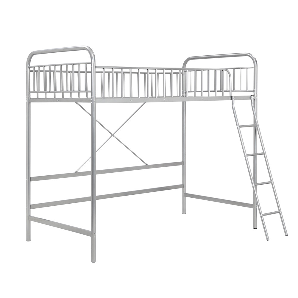 [US Direct] Twin Loft  Bed With Full-length Guardrail And Ladder Household Furniture Silver