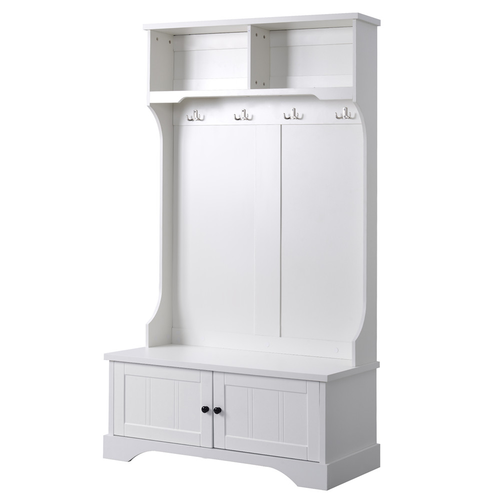 [US Direct] 3-in-1 Entryway  Bench  Set With Shelves Cabinet+4hooks Household Furniture white