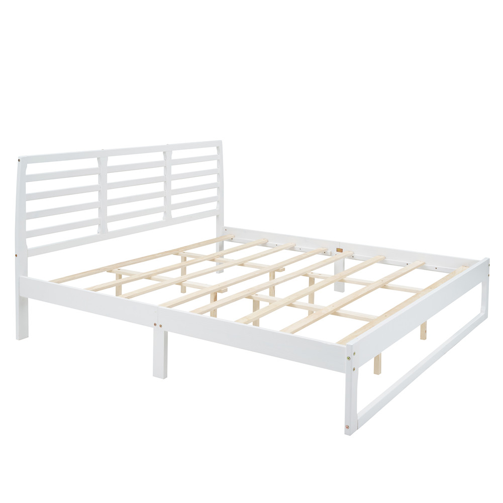 [US Direct] Mdf Pine King-size Platform Bed With Headboard 79.3 x 82.2 Inches Bed white
