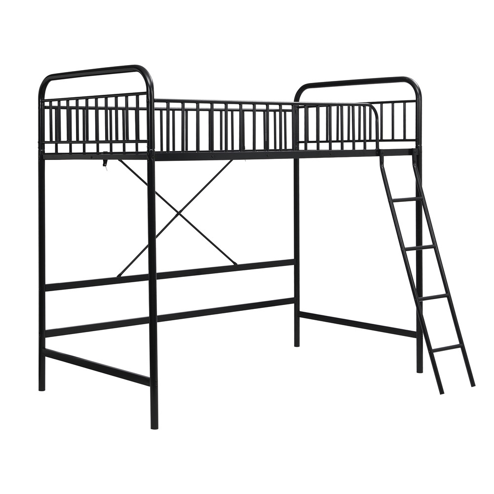 [US Direct] Twin Loft  Bed With Full-length Guardrail And Ladder Household Furniture black