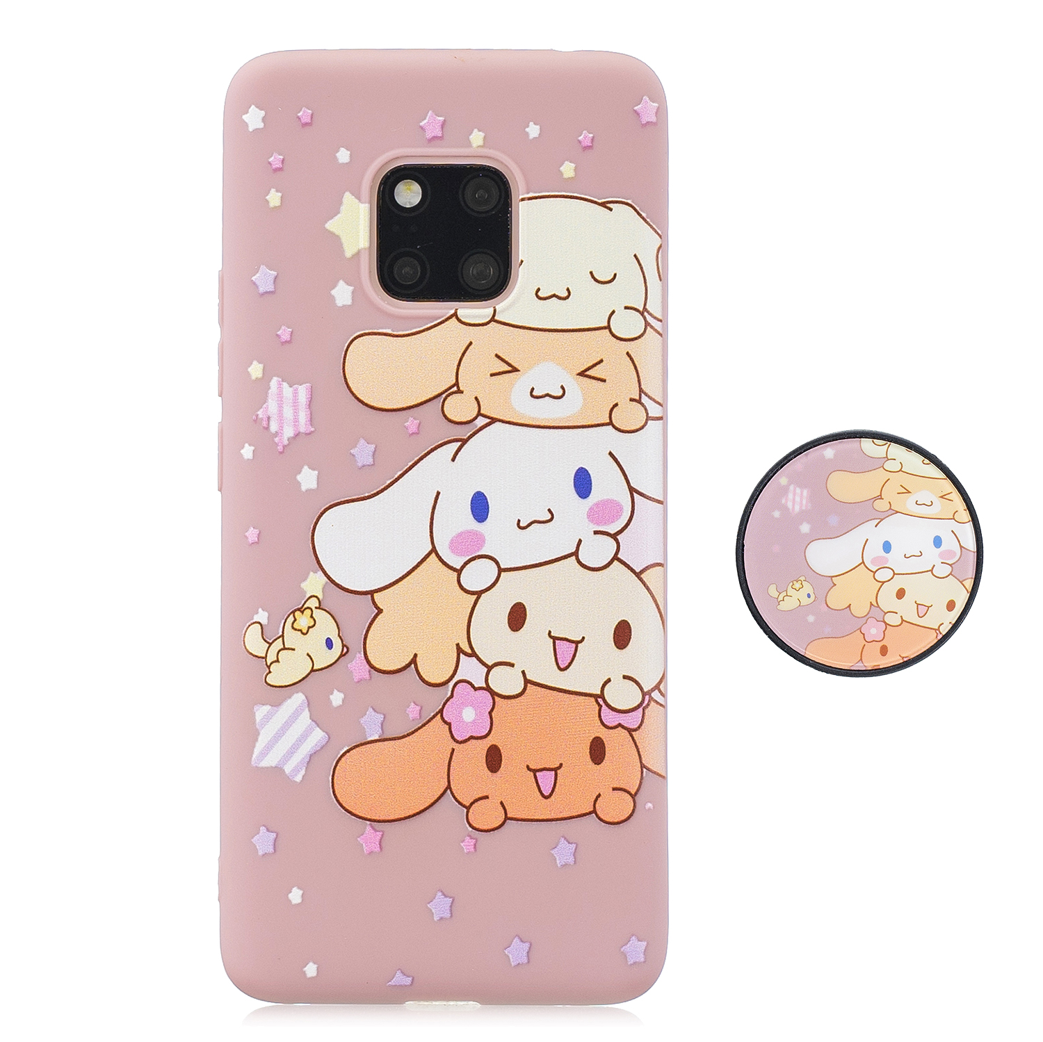For HUAWEI MATE 20 pro Pure Color Phone Cover Cute Cartoon Phone Case Lightweight Soft TPU Phone Case with Matching Pattern Adjustable Bracket 1