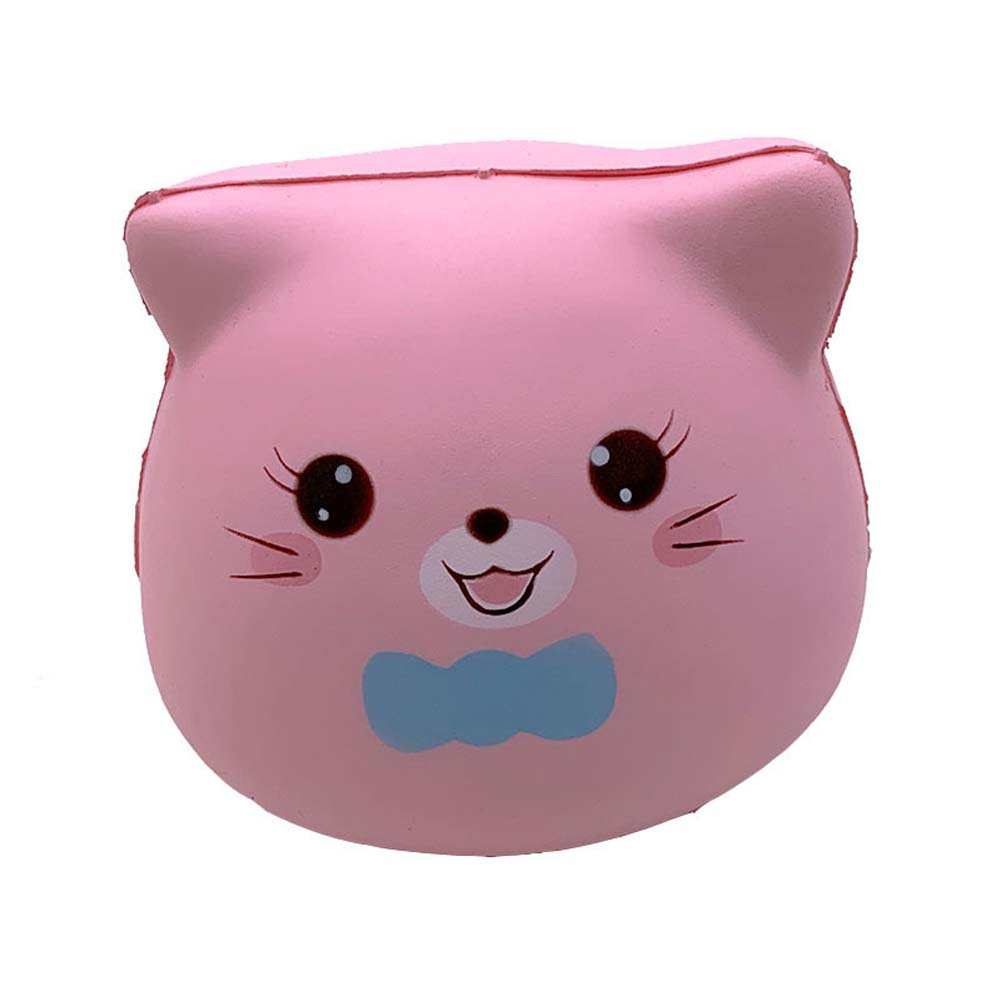 PU Doll Slow Rebound Decompression Toy Simulated Kitty Foam Relaxed Toy Pink_10 * 9 * 8.5cm