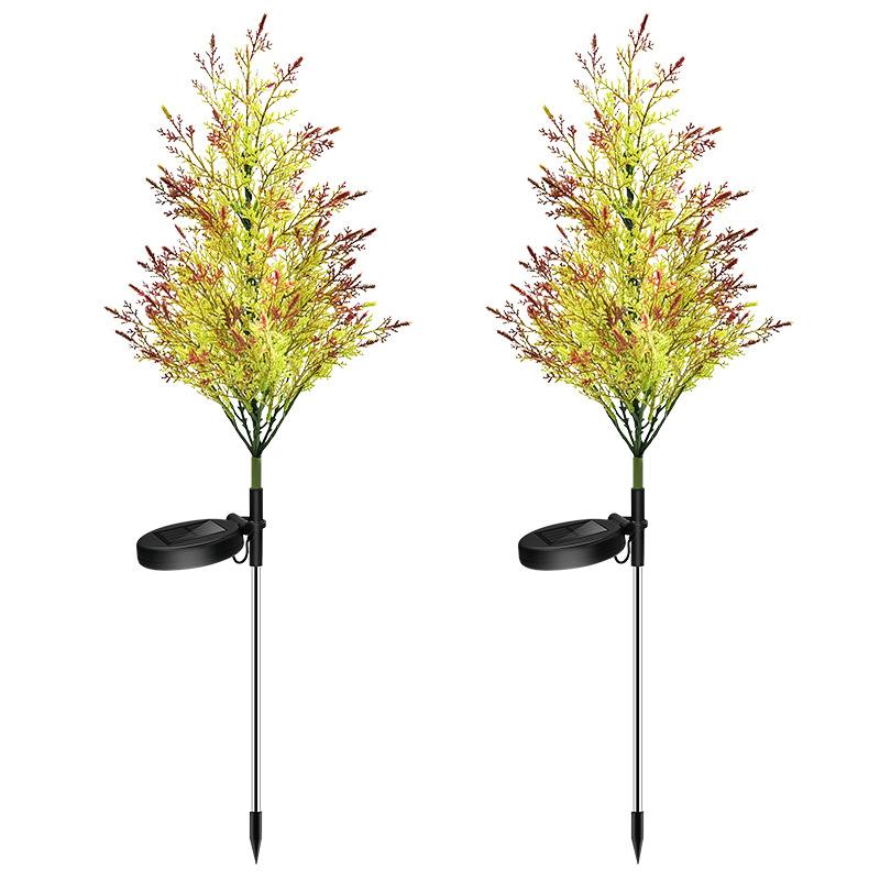 2 Pcs / Set Solar Garden Light Pine Cypress 8 LED Lawn Ground Outdoor Landscape Decoration Lamp Set Colorful