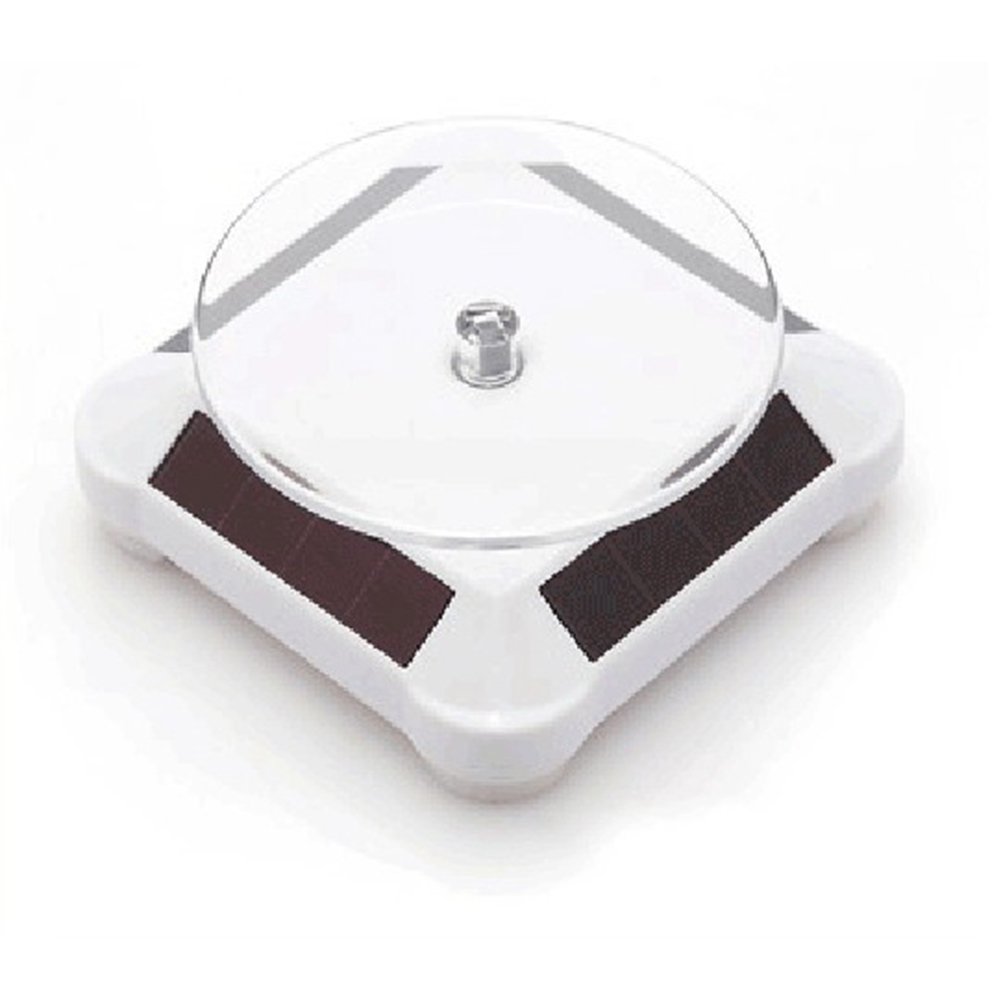 Solar Powered Rotary Display Stand Turntable Watch Phone Jewelry Holder white_Dual use