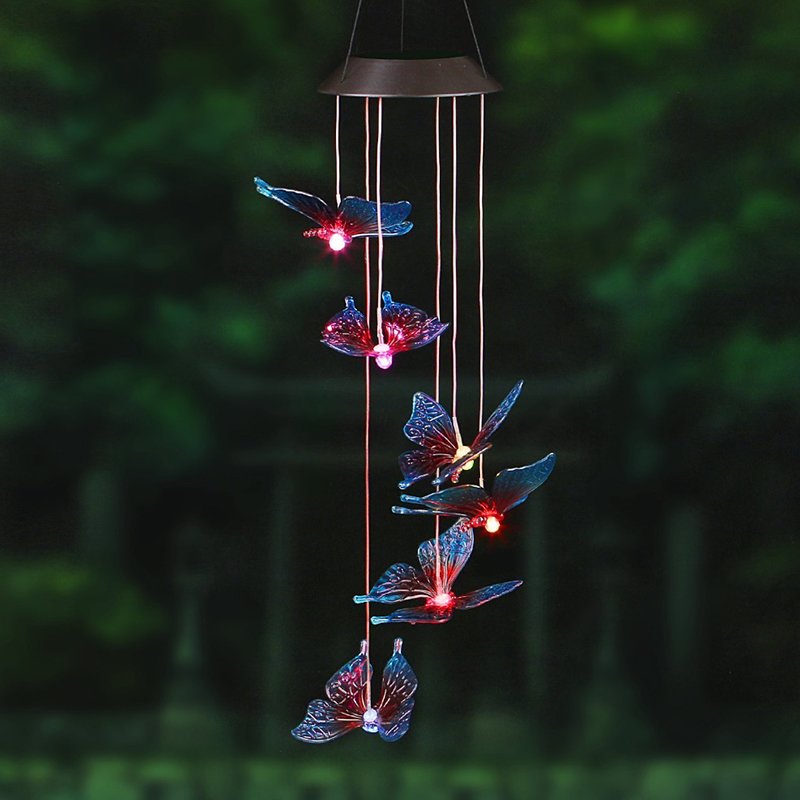 Solar Wind Chime LED Colorful Butterfly Light, Waterproof Light for Corridors, Parks, and Hallways etc.