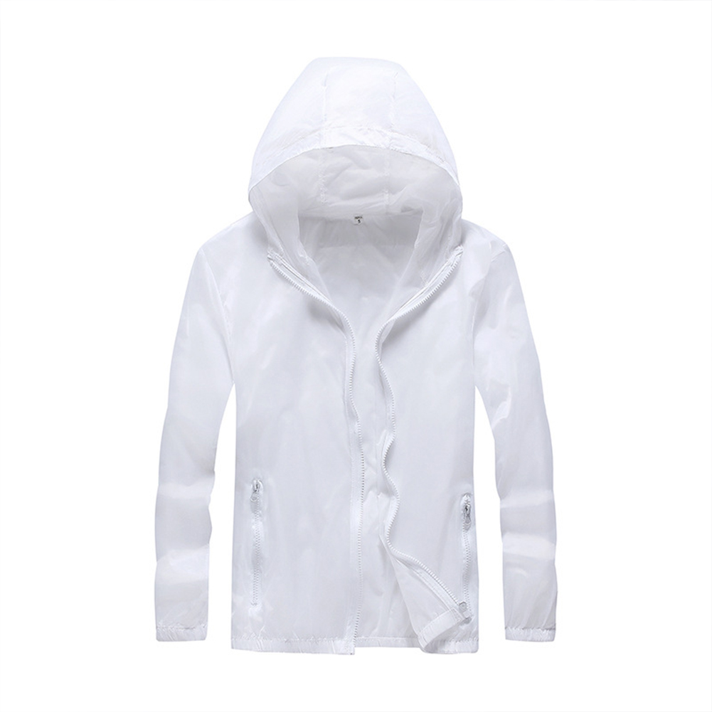 Breathable Solid Color Sunscreen Lovers  Quick Dry Clothes Tops white_M